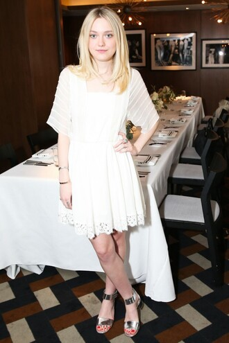 dress white lace dakota fanning sandals