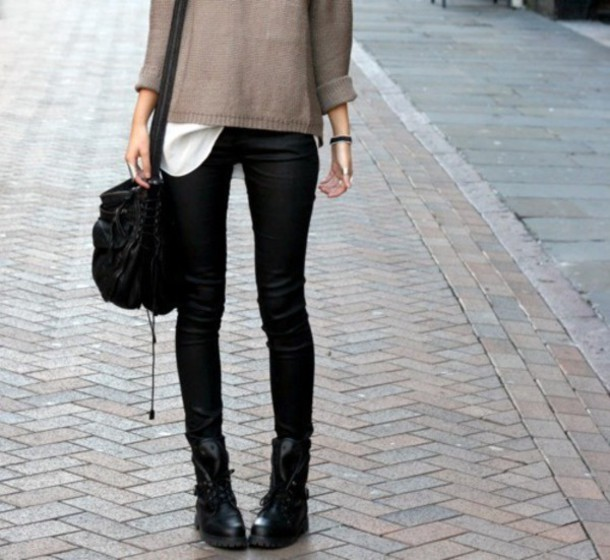 sweater winter outfits cold brown black