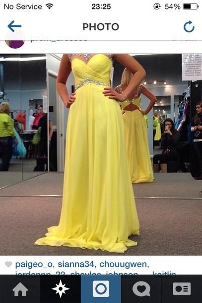 dress prom dress yellow 2014 prom dresses diamonds