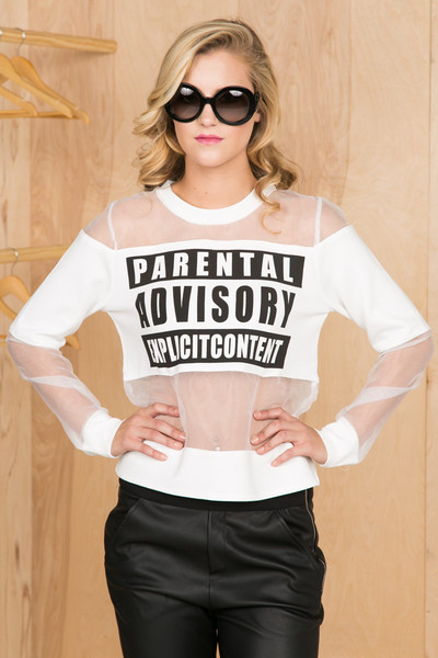 Parental advisory top (white)