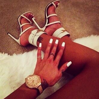 shoes heels white ivory heels ivory lovely nice tumblr instagram brown watch high heel sandals