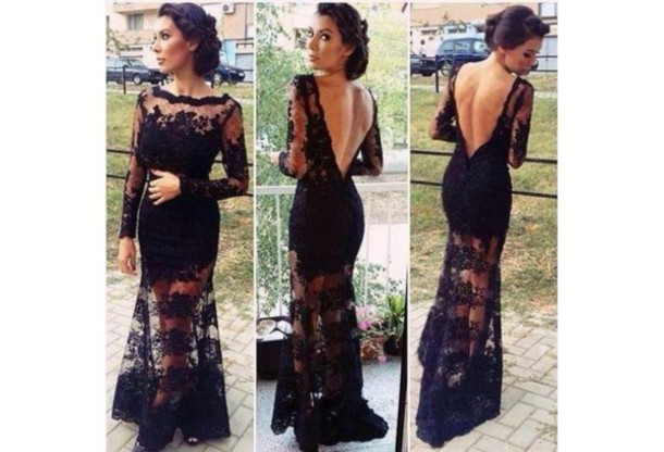 Black Lace Long Sleeve Wedding Dress