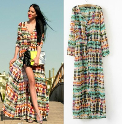 New Fashion 2014 Hot Women Lady Long Sleeve Chiffon Bohemian Maxi Long Dresses Clothing High Street-in Dresses from Apparel & Accessories on Aliexpress.com