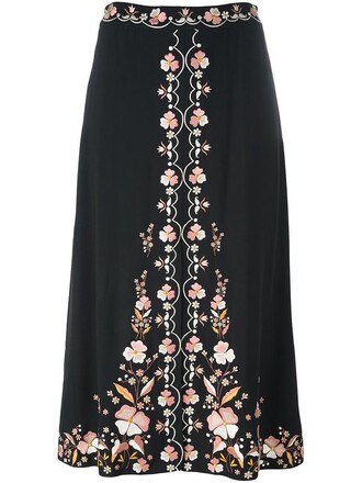 skirt embroidered floral black