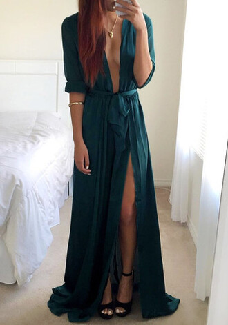 dress maxi long dress long sleeves prom dress cute dress sexy v-neck dress vneck dress teal dress green dress emerald green