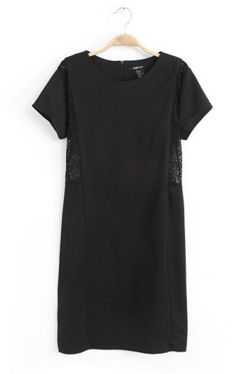 New Lace Embroidery Hollow Stitching Crewneck Dress,Cheap in Wendybox.com