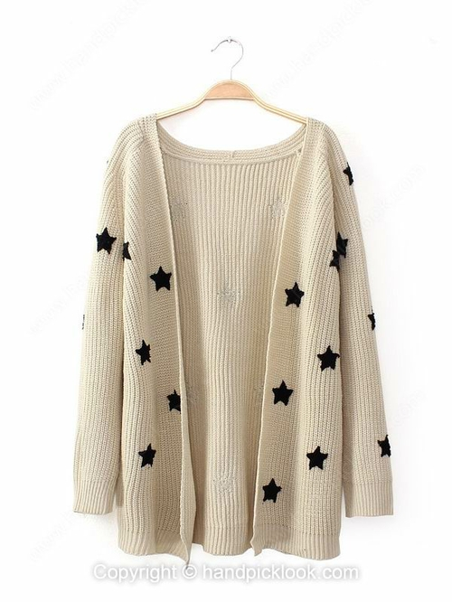 Light khaki collarless long sleeve stars pattern knit top