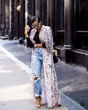 jeans,ripped jeans,top,kimono,bag