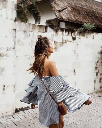 dress tumblr blogger sincerely jules off the shoulder off the shoulder dress bell sleeves bell sleeve dress stripes striped dress mini dress bag crossbody bag