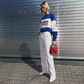 jeans,white jeans,flare jeans,tommy hilfiger,sweater,handbag