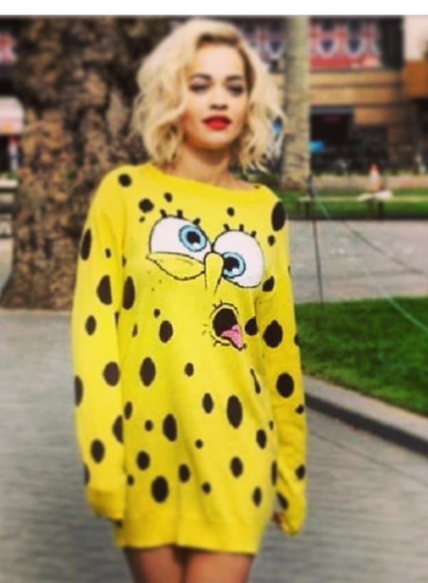 yellow spongebob long sleeves polka dots sweater sweater dress rita ora spongebob moschino dress