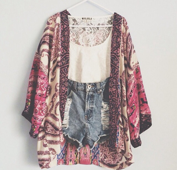 kimono jacket party paisley flowy floral summer spring fun beach shorts denim shorts top boho ripped shorts coat tank top kimono, patterned, pink, creme sweater shirt cute white clothes color high waisted short