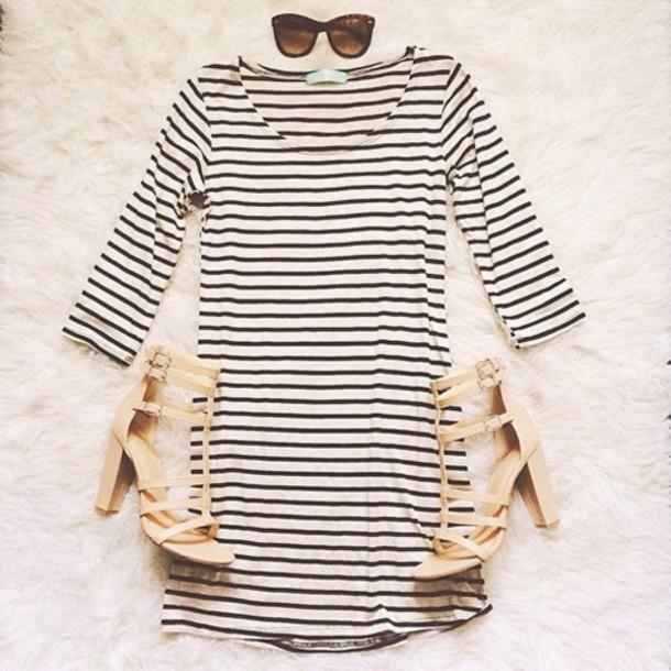 dress striped dress shoes striped dress long sleeve dress outfit