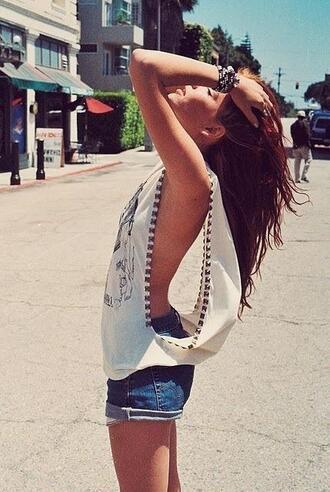 shirt cute off cut offs cute summer hot denim studded t-shirt white vest top