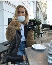 jacket,coat,winter outfits,fall outfits,fur,fur coat,faux fur,faux fur jacket,leather,leather jacket,girly,girl,edgy,brown,black,white,outerwear,hipster,spring,spring outfits,cold,sweater,denim,jeans,heels,boots,heeled boot,hair,teenagers,graphic tee,tumblr shirt,metallic,coffee,mug,josefinehj from denmarkk,denmark