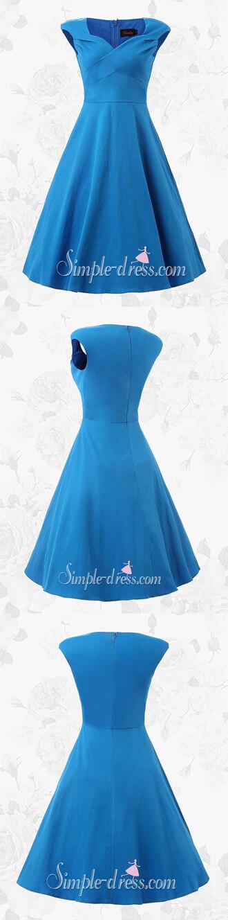 dress 2016 homecoming dress blue dress 1950s vintage dress party dress short blue homecoming dress bridesmaid