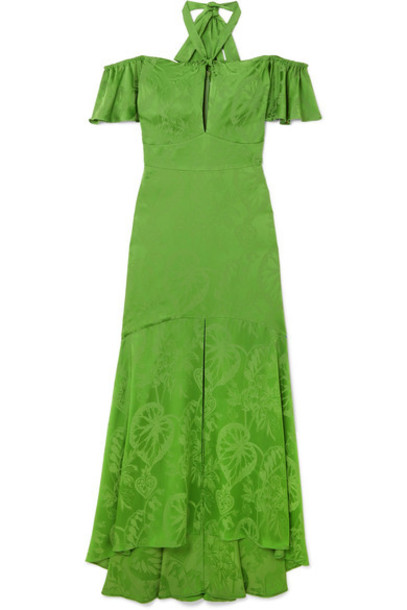 Temperley London gown jacquard green satin dress