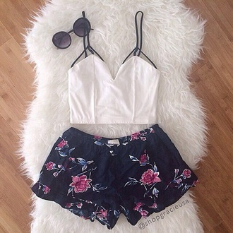 shirt white spaghetti strap blue floral shorts shorts crop tops