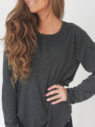 shirt grey henley buttons gray t-shirts