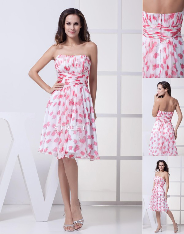 dress strapless knee-length dress chiffon