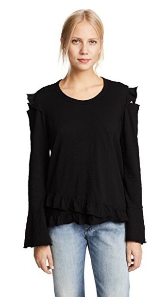 Wilt ruffle cold black top