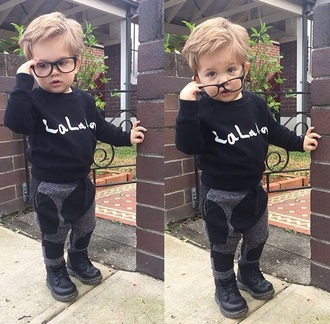 pants grey sweatpants fashion joggers joggers pants sweatpants sweats boots black boots combat boots black combat boots drmartens sweater sweatshirt black sweater black grey light grey joggers glasses nerd glasses cute swag kids with swag toddler kids fashion