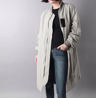jacket coat minimalism outwear streetstyle streetwear women jacket khaki khaki coat army green jacket long coat olive green