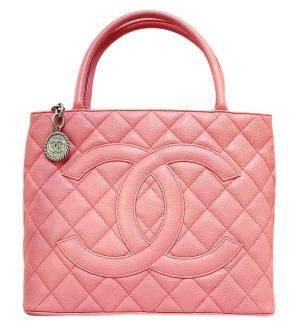 Chanel: chanel pink quilted caviar leather silver medallion tote bag