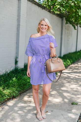 style archives | the style scribe blogger shoes jeans dress off the shoulder t-shirt dress nude bag flats beige striped dress blue dress stripes givenchy givenchy bag sandals flat sandals summer dress summer outfits