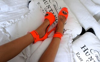 shoes pumps neon neon pumps shoes neon summer summer shoes musthave lovethis orange elegant elegance giveme givenchy heels never give up like a boss high heels