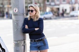 after drk blogger top shorts belt sunglasses