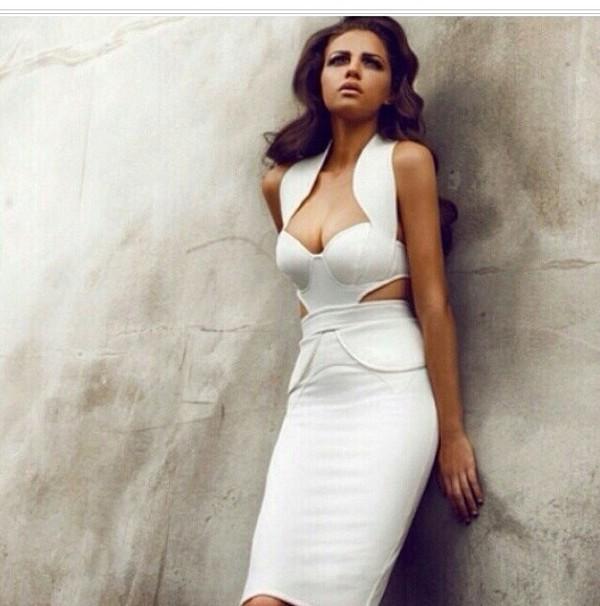 white dress white dress cut-out dress marilyn monroe