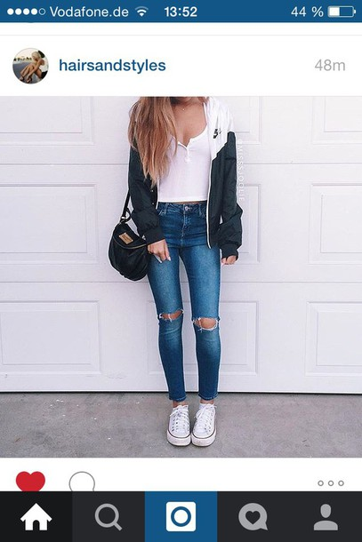 jacket back to school jeans shirt bag purse leather black blouse nike jacket white crop tops blue jeans black bag top weekend outfits ripped jeans white top sports jacket white converse converse sneakers white sneakers black and white tumblr windbreaker nike