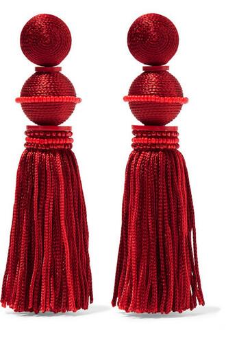 beaded earrings silk red jewels