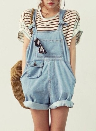pants overalls jeans salopette shorts cute outfit summer dress dungarees jumpsuit vintage jumpsuit jumpsuit jeans romper baggy short overalls light denim