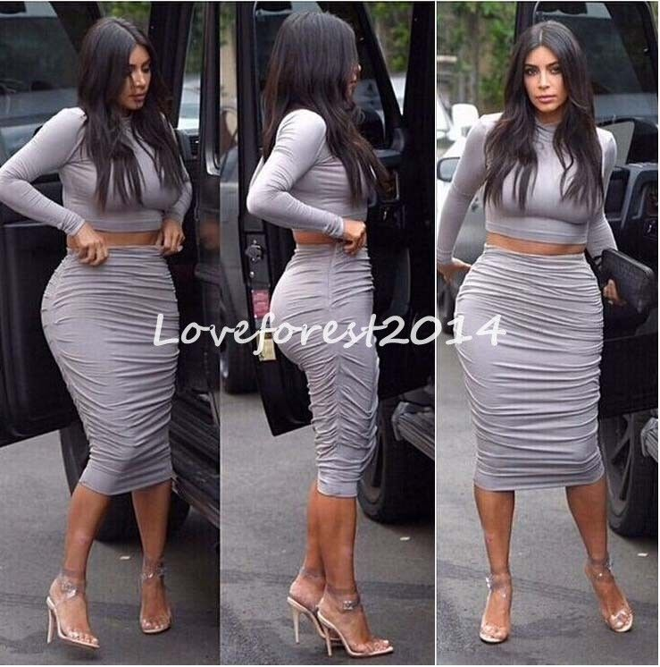 26fce4845beb2 Womens Kim Kardashian Two Piece Bodycon Crop Top Skirt Celeb ...