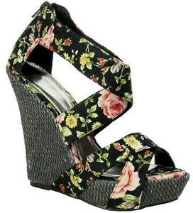 Womens ladies black floral high heels party summer platform wedges shoes size
