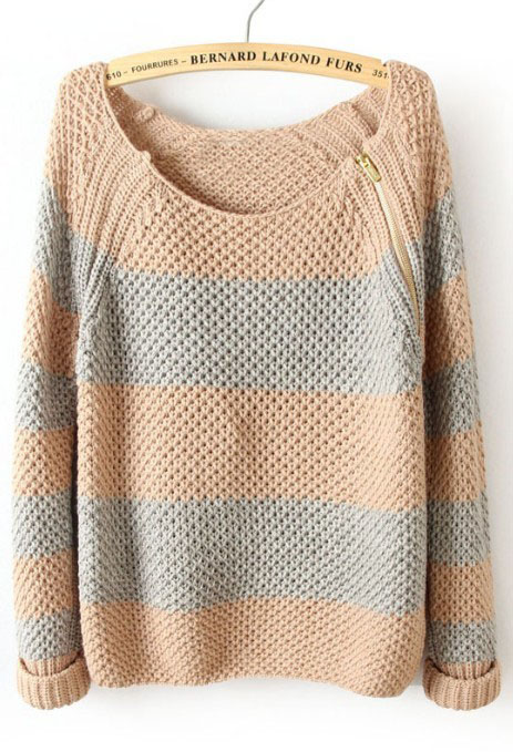 Pink Blue Striped Long Sleeve Zipper Sweater - Sheinside.com