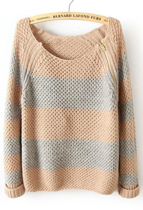 Pink Blue Striped Long Sleeve Zipper Sweater - Sheinside.com