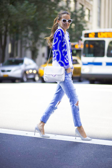 jacket jewels blue jacket jeans shoes ripped jeans something navy sunglasses bag blogger high heels manolo blahnik lauren merkin classy