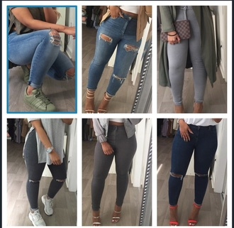 jeans grey blue ripped jeans grey jeans blue jeans topshop asos sherlinanym