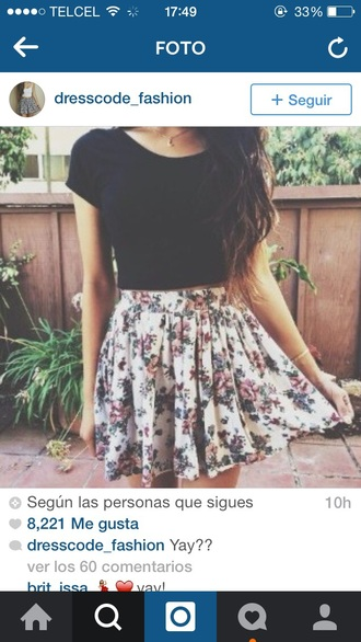 skirt flowers spring girly lovely outfit tumblr outfit