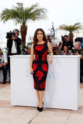 dress salma hayek floral flowers midi dress cannes