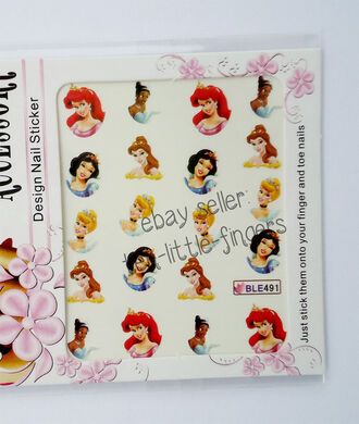 ariel nail polish disney princess nail decoration stickers decals aurora bell classy easy diy manicure pedicure once upon a time