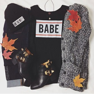cardigan fall outfits babe girl hipster cold