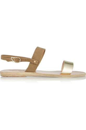 metallic sandals leather suede gold shoes