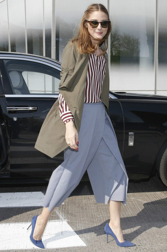 pants wide-leg pants crop pants olivia palermo pumps blouse
