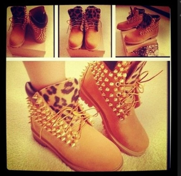 shoes spiked shoes timberlands leopard print