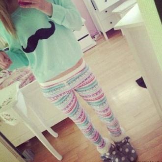 moustache pants printed leggings turquoise pants jumper tribal pattern