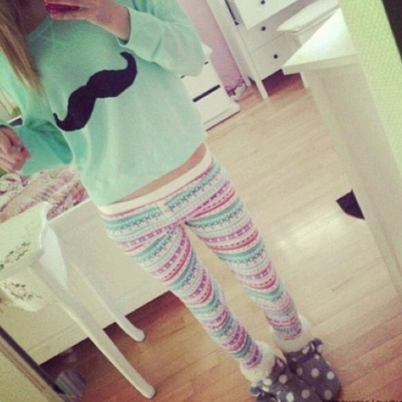 moustache pants printed leggings turquoise Pants jumper tribal pattern